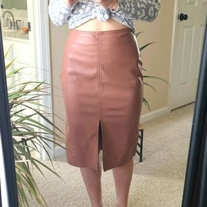 Dusty Pink Faux Leather Pencil Skirt